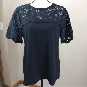 Ann Taylor Black Short Sleeve Top With Lace Sz L